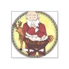 "Santa & Baby Jesus Square Sticker 3"" x 3"""