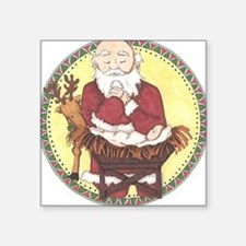 "Santa & Baby Jesus Square Sticker 3"" x 3"""