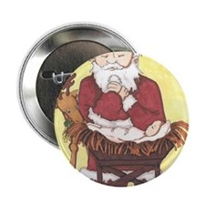 "Santa & Baby Jesus 2.25"" Button"