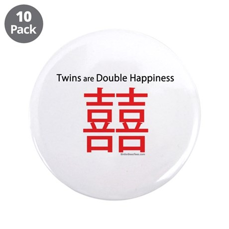 """Twins are Double Happiness 3.5"""" Button (10 pa"""
