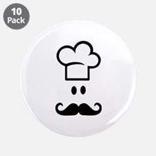 "Cook chef hat face 3.5"" Button (10 pack)"