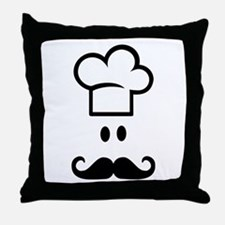 Cook chef hat face Throw Pillow