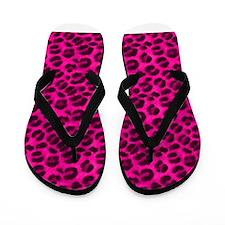 Pink Cheetah Print Flip Flops