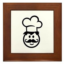 Cook chef hat face Framed Tile