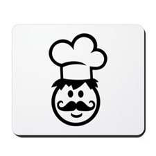 Cook chef hat face Mousepad