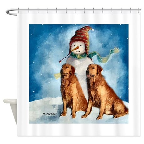 Golden Retriever Christmas Shower Curtain