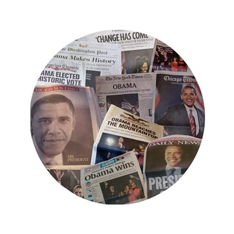"""Obama Victory Collage 3.5"""" Button"""