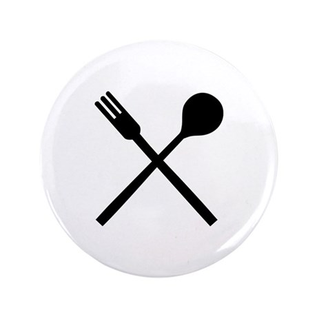 "Cutlery fork spoon 3.5"" Button"