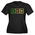 NERD Women's Plus Size V-Neck Dark T-Shirt