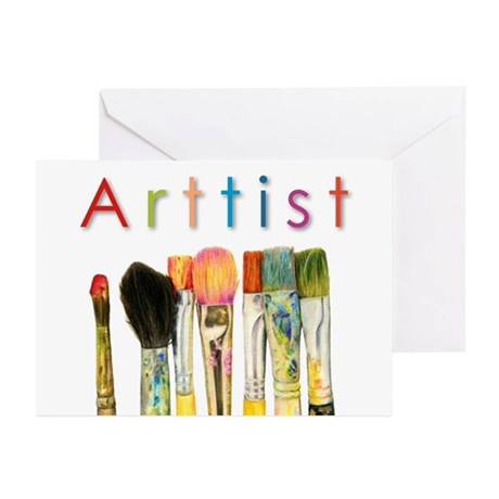 artist-paint-brushes-01 Greeting Cards (Pk of 20)