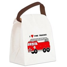 I Heart Fire Trucks! Canvas Lunch Bag