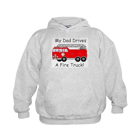 My Dad Drives A Fire Truck Kids Hoodie