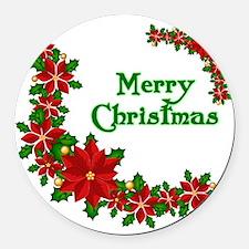 Merry Christmas Poinsettias Round Car Magnet