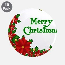 "Merry Christmas Poinsettias 3.5"" Button (10 pack)"