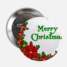 "Merry Christmas Poinsettias 2.25"" Button (100 pack"