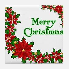 Merry Christmas Poinsettias Tile Coaster