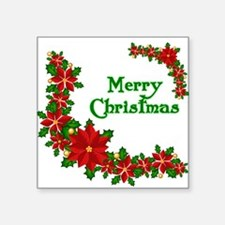 "Merry Christmas Poinsettias Square Sticker 3"" x 3"""