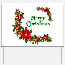 Merry Christmas Poinsettias Yard Sign