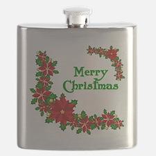 Merry Christmas Poinsettias Flask