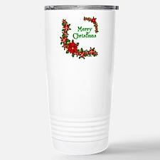 Merry Christmas Poinsettias Travel Mug