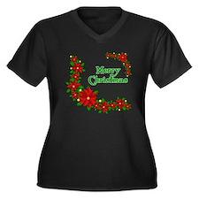 Merry Christmas Poinsettias Women's Plus Size V-Ne