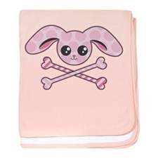 Kawaii Pink Bunny Skull baby blanket