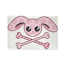 Pink Bunny Skull Rectangle Magnet (10 pack)