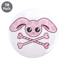 "Pink Bunny Skull 3.5"" Button (10 pack)"
