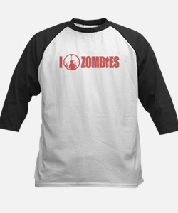 I Love Zombies Kids Baseball Jersey