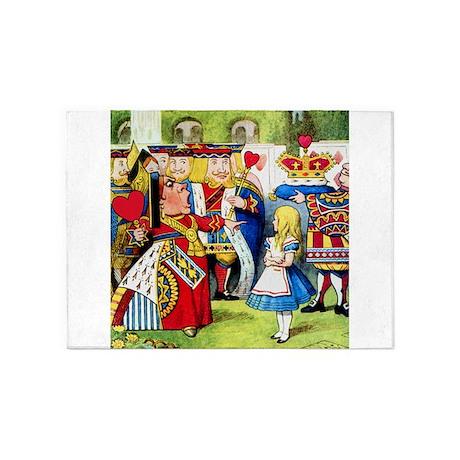 Alice Meets The Queen of Hearts 5'x7'Area Rug