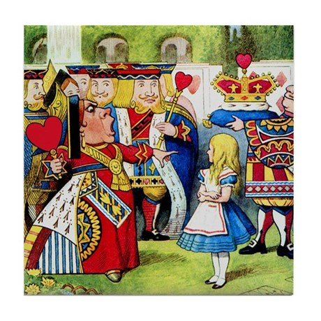 Alice Meets The Queen of Hearts Tile Coaster