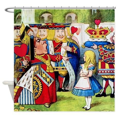 Alice Meets The Queen of Hearts Shower Curtain