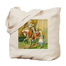 Alice Meets The White Knight Tote Bag