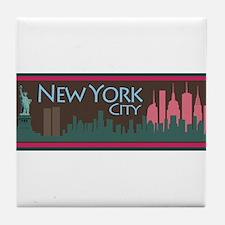 NYC Liberty Skyline chocolate Tile Coaster