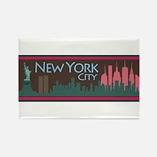 NYC Liberty Skyline chocolate Rectangle Magnet