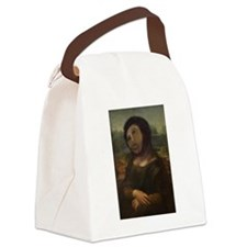 restored Mona Lisa Canvas Lunch Bag