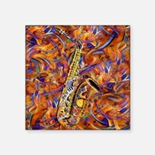 Sax In The City Jazzy Music Painting Square Sticke