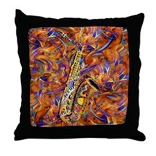 Sax In The City Jazzy Music Painting Throw Pillow