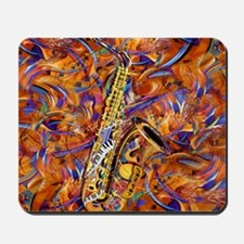 Sax In The City Jazzy Music Painting Mousepad