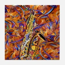 Sax In The City Jazzy Music Painting Tile Coaster