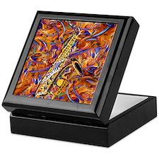 Sax In The City Jazzy Music Painting Keepsake Box