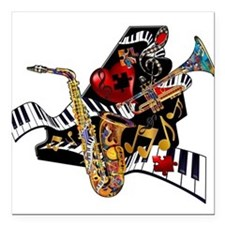Red Hot Jazz Music Piano Sax Instruments Square Ca