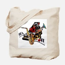 Red Hot Jazz Music Piano Sax Instruments Tote Bag