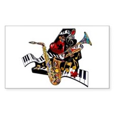 Red Hot Jazz Music Piano Sax Instruments Decal