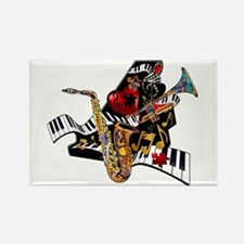 Red Hot Jazz Music Piano Sax Instruments Rectangle