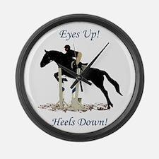 Eyes Up! Heels Down! Horse Large Wall Clock