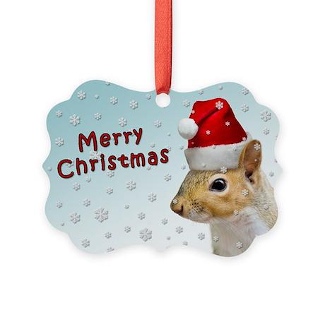 Santa Claus Squirrel Christmas Picture Ornament