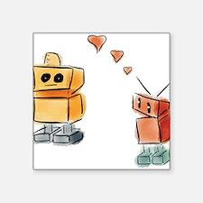 """Robots in Love Square Sticker 3"""" x 3"""""""