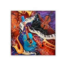 Jazz Supper Club Guitar Curvy Piano Square Sticker
