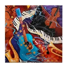 Jazz Supper Club Guitar Curvy Piano Tile Coaster